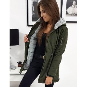 Štýlová dámska zelená bunda zimu s odnímateľnou sivou kožušinou