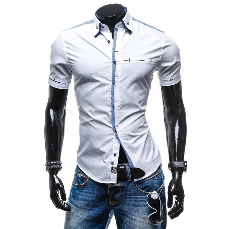 ff21419f448a Biela pánska košeľa s krátkym rukávom so skrytým zapínaním ...
