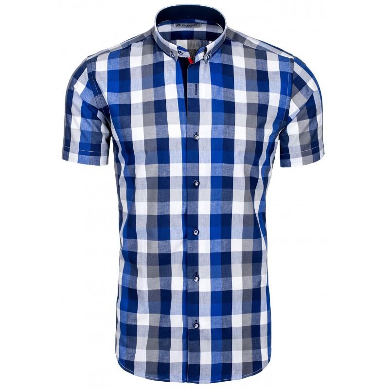 41873fac71cd Modrá kockovaná pánska košeľa - fashionday.eu