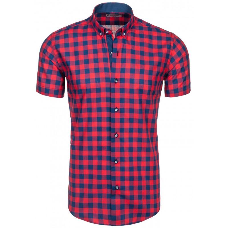 b72732f053f5 Najlacnejšia pánska košeľa károvaná červenej farby - fashionday.eu