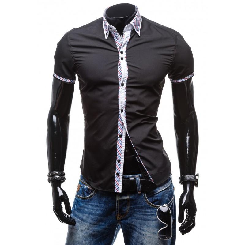 d7c414d62f26 Slim fit pánska košeľa s krátkym rukávom čiernej farby - fashionday.eu