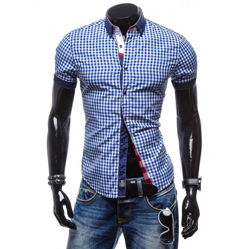 f177e758b8cd Pánska košeľa s kockovaným vzorom modrej farby - fashionday.eu