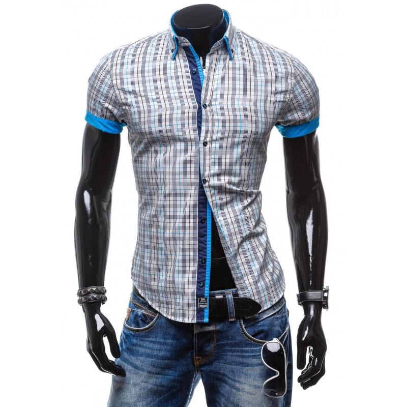 d545b49b935d Moderná pánska košeľa s krátkym rukávom károvaná - fashionday.eu