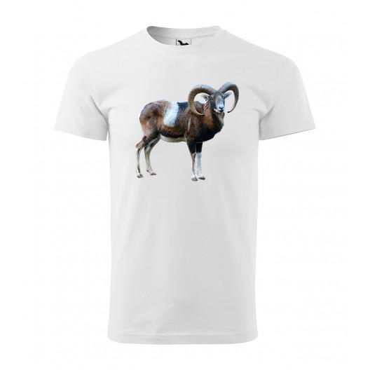 Bavlnené pánske tričko s potlačou muflóna