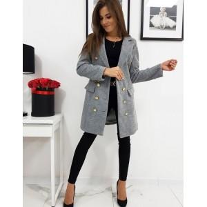Dámsky kabát v sivej farbe so zapínaním na gombíky