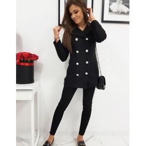 Čierny dámsky kabát s podšívkou