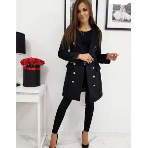 Moderný dámsky kabát v čiernej farbe so zapínaním na gombíky
