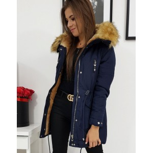 Dámska zimná bunda v modrej farbe s kožušinou