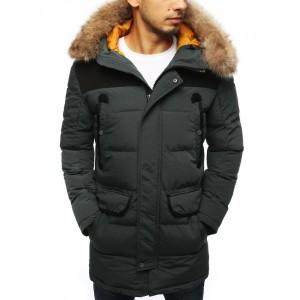 Pánska zimná prešívaná bunda sivej farby s kapucňou