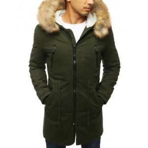 Pánska zimná bunda dlhého strihu s hustou kožušinou