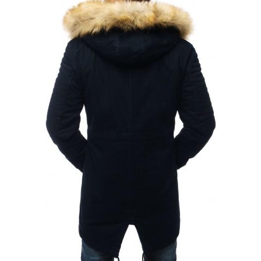 Tmavo modrá zimná bunda pre pánov s odnímateľnou kožušinou