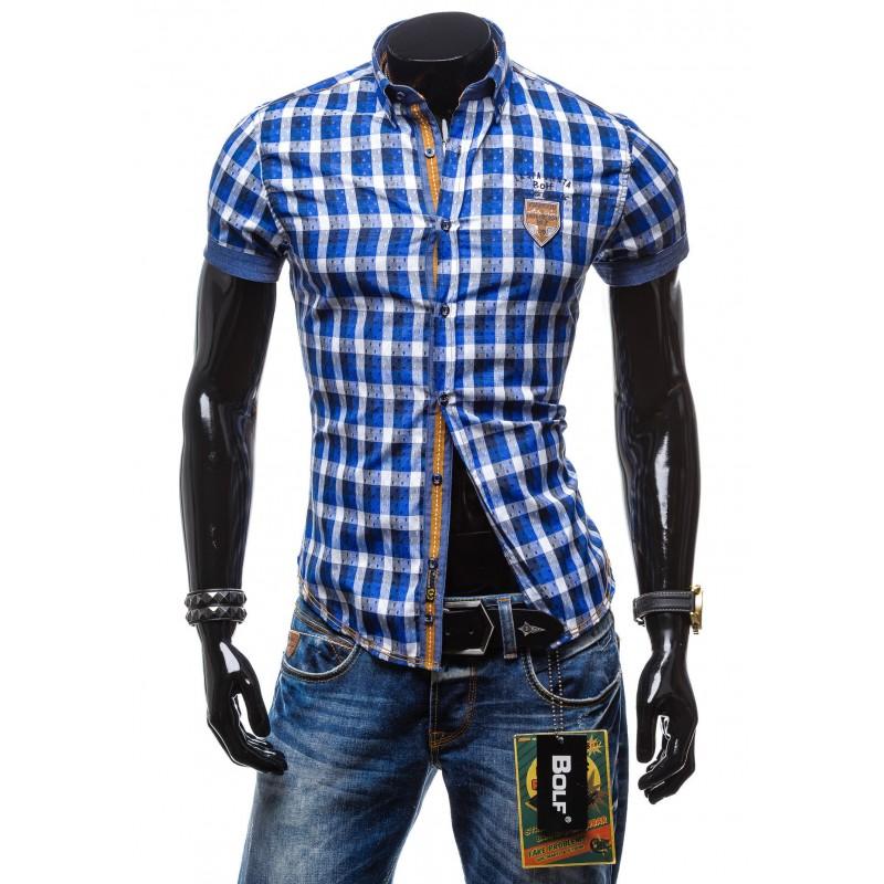 7017e95355f0 Štýlová károvaná modrá pánska košeľa - fashionday.eu