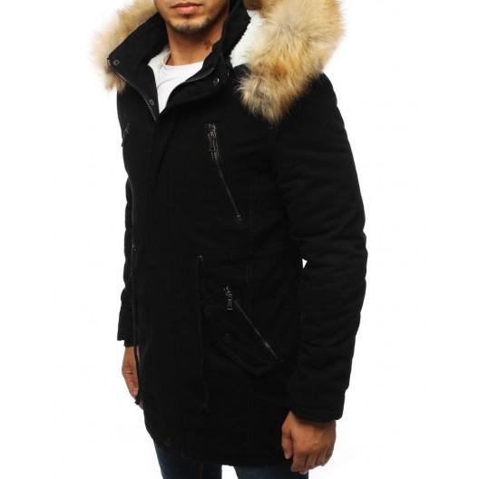 Pánska zimná bunda s kapucňou čiernej farby