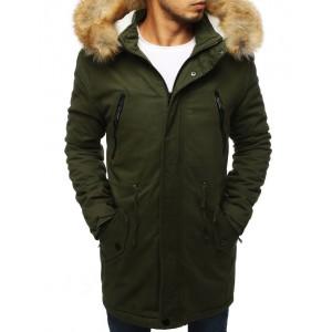 Zelená pánska zimná bunda dlhého strihu s kožušinou