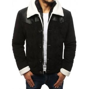 Čierna pánska menčestrová bunda s bielou podšívkou