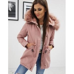 Ružová dámska bavlnená zimná bunda s kožuštekom a kapucňou