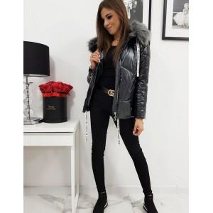 Trendy lesklá dámska čierna prešívaná bunda v módnom designe