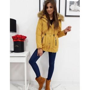 Žltá dámska zimná bunda parka s kapucňou a odnímateľným kožúškom