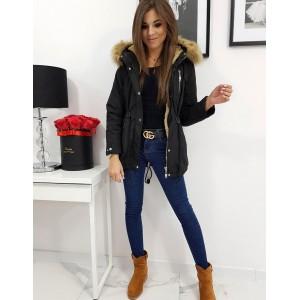Štýlová dámska čierna bunda s kožúškom a kožušinovou kapucňou