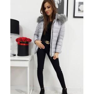 Trendy dámska prešívaná sivá bunda na zimu s kapucňou