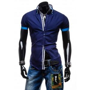 Pánske prešivané zimné predlžené bundy v tmavo modrej farbe s ... 655a6cd9552