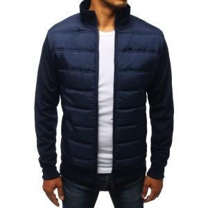 Prešívaná bunda bez kapucne na jar v modrej farbe