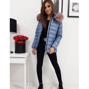 Krásna modrá dámska bunda na zimu s ružovou kožušinou