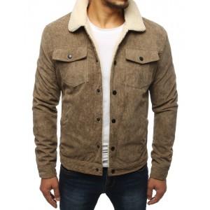 Svetlo hnedá zateplená menčestrová bunda pre pánov