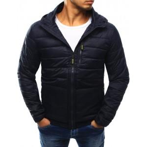 Prešívaná pánska prechodná bunda tmavo modrej farby