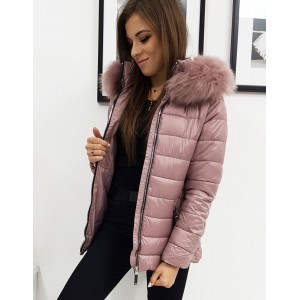 Dámska zimná bunda s kožušinou v ružovej farbe