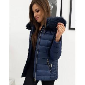 Teplá dámska zimná bunda v modrej farbe s kapucňou