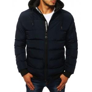 Tmavo modrá prechodná bunda s odnímateľnou látkovou kapucňou