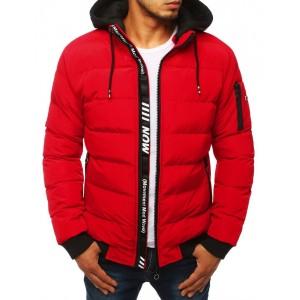 Pánska prechodná bunda červenej farby s prešívaním