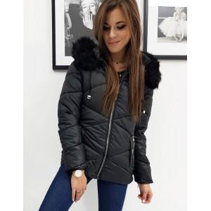 Prešívaná dámska bunda na zimu v čiernej farbe