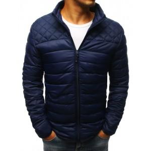 Elegantná tmavo modrá bunda bez kapucne