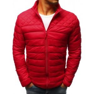 Červená pánska prechodná bunda s prešívaním