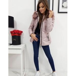 Štýlová dámska zimná bunda v ružovej farbe s kapucňou