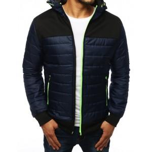 Prešívaná prechodná bunda s kapucňou tmavo modrej farby