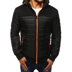 Čierna pánska jesenná bunda s farebným zipsom