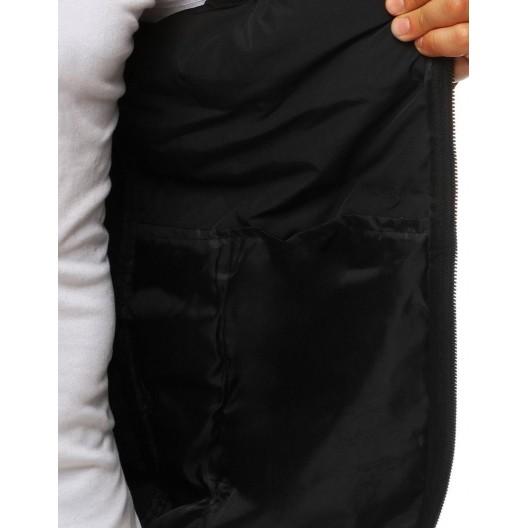 Prešívaná prechodná bunda s kapucňou čiernej farby