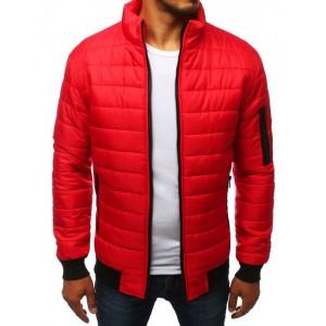 Štýlová prechodná bunda červenej farby bez kapucne