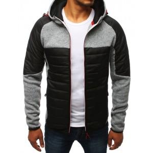 Svetlo sivá pánska prechodná bunda s kapucňou