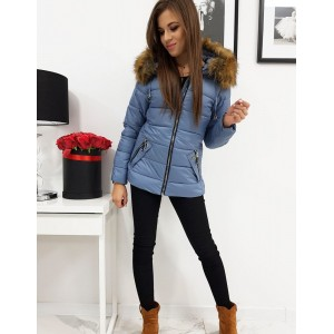 Zimná dámska bunda v modrej farbe s odnímateľnou kapucňou