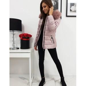 Ružová dámska zimná bunda s prešívaním