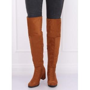 Vysoké dámske čižmy nad kolená v hnedej farbe