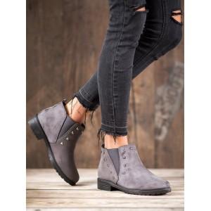 Dámska členková obuv sivej farby na nízkom podpätku