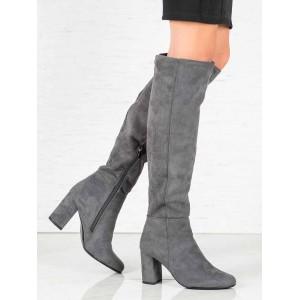 Štýlové dámske semišové čižmy nad kolená na vysokom módnom opätku