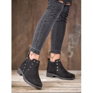 Zateplená dámska členková obuv čiernej farby