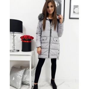 Štýlová dámska prešívaná zimná bunda s kapucňou a bohatou kožušinou
