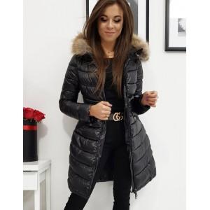 Originálna dámska dlhá prešívaná čierna bunda na zimu s kapucňou